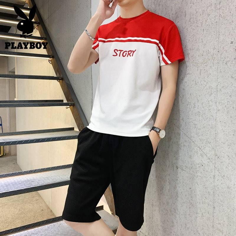 花花公子男装套装 两件一套T恤+短款 夏季男士潮流休闲运动套装男