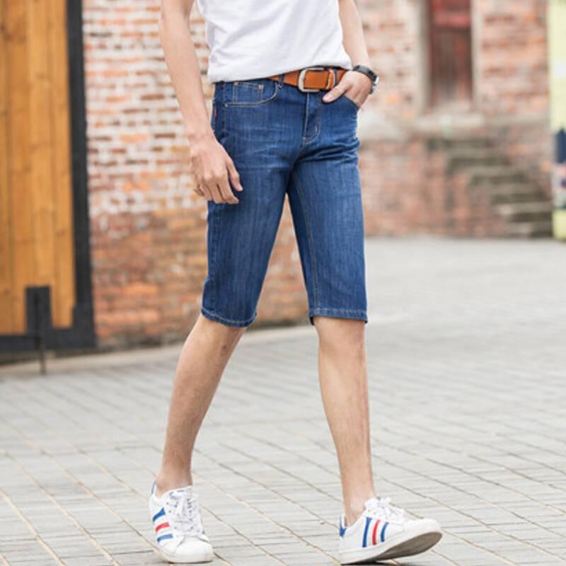 夏季薄款男士牛仔裤破洞牛仔七分裤青年牛仔短裤个性五分裤潮男