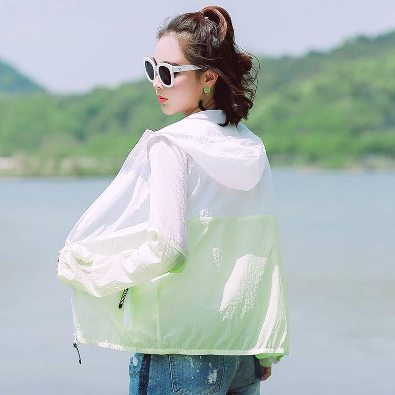 2018防晒衣女夏季连帽超薄款大码防晒服拼色韩版长袖沙滩女外套潮