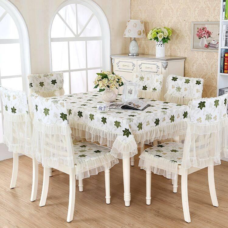 田园餐桌布椅套椅垫套装家用椅子套罩欧式餐桌布艺茶几布简约现代