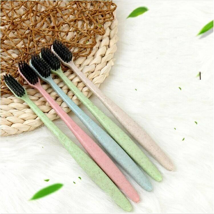 小麦秸秆竹炭超细软毛护龈清洁牙刷 5支装4支儿童牙刷送2杯子