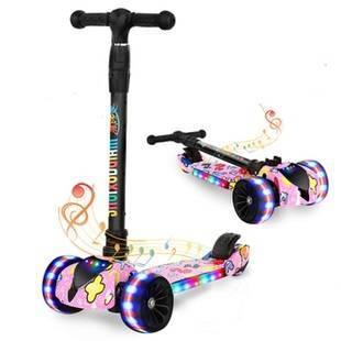 儿童滑板车音乐闪光自行车三轮车