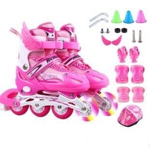 儿童直排溜冰鞋轮滑鞋八轮全闪套装