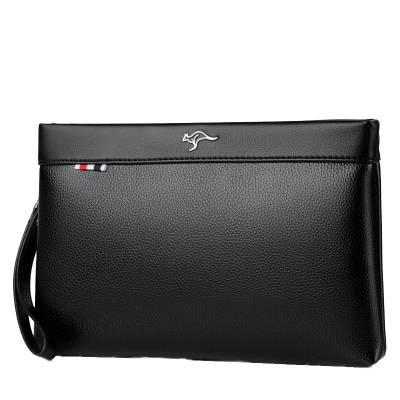 正品袋鼠时尚男士手包大容量软牛皮信封包手拿包休闲男夹包手抓包