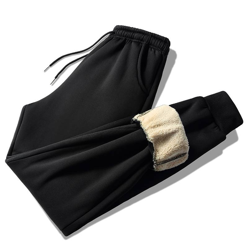 裤子男韩版潮流修身小脚青年帅气休闲裤男士冬季保暖羊羔绒运动裤