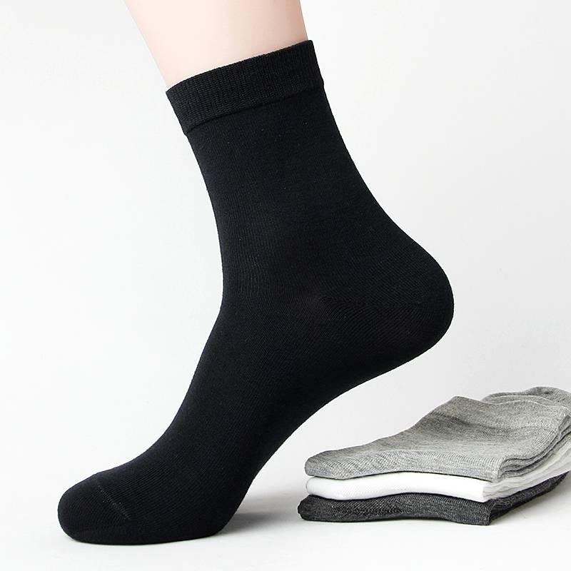 袜子男士纯棉中筒秋冬季长袜全棉黑色短袜防臭吸汗男袜秋冬款棉袜
