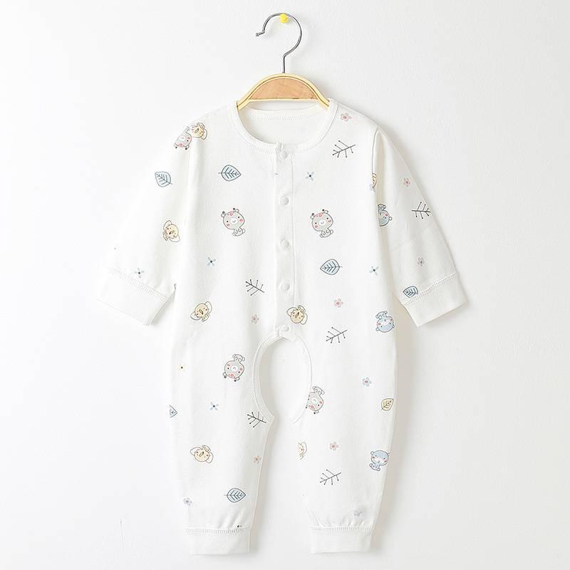 婴儿连体衣服秋冬保暖纯棉新生儿哈衣0-3个月女6男宝宝睡衣春秋装