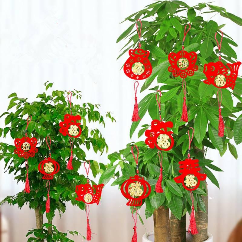 过年装饰挂件小灯笼挂饰树上红场景布置迷你室内春节元旦新年挂串