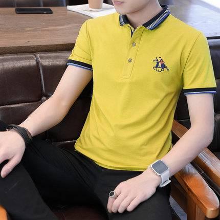 男士短袖t恤2020新款翻领polo衫男纯棉夏季潮流有领商务休闲纯色