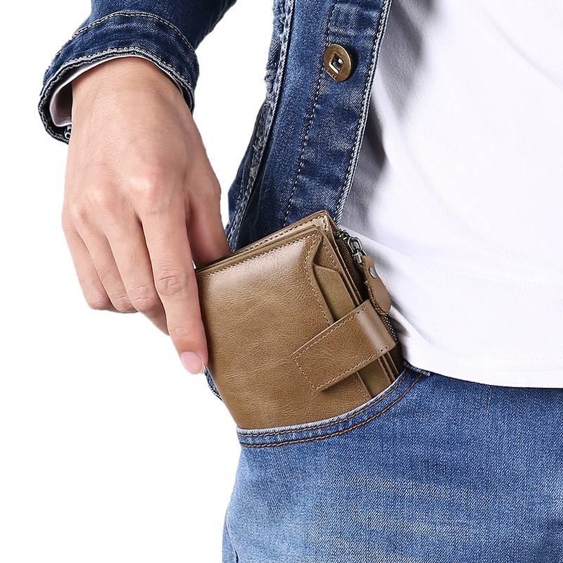 2019新款男士钱包真皮短款拉链钱夹多功能驾驶证卡包竖款青年皮夹