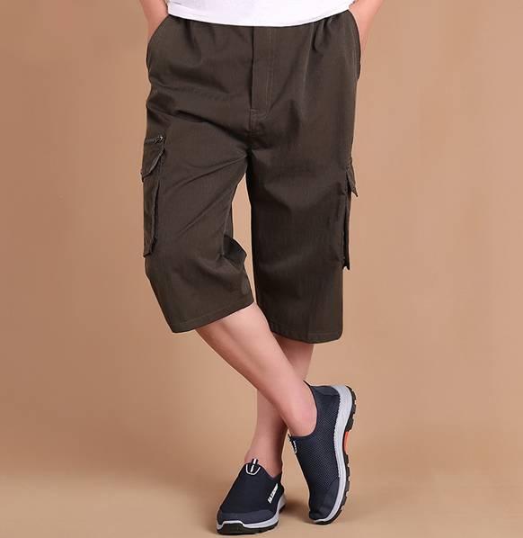 夏季薄款宽松短裤男士七分裤休闲裤子加肥加大码中老年中裤爸爸装