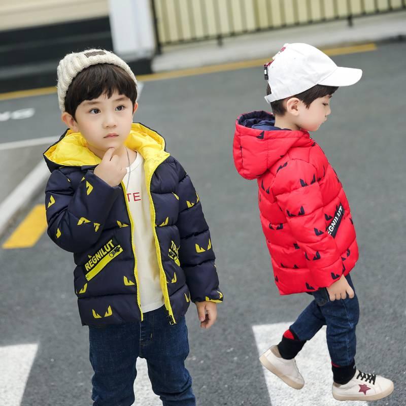 反季促销儿童连帽棉袄男童卡通羽绒棉服女童棉衣0-9岁宝宝外套
