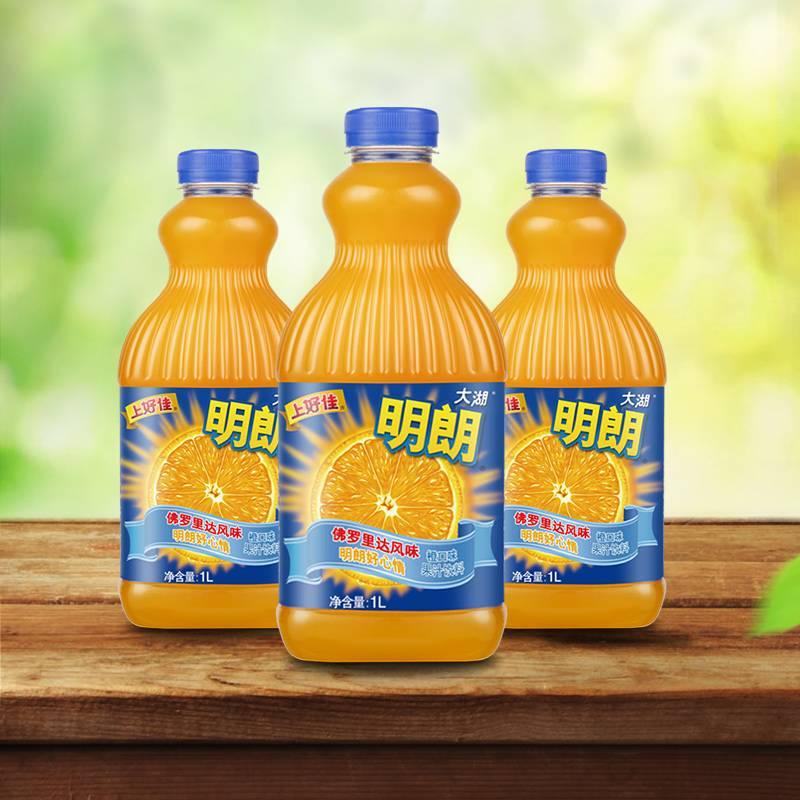 上好佳大湖明朗橙汁口味果汁饮料饮品1L*3瓶