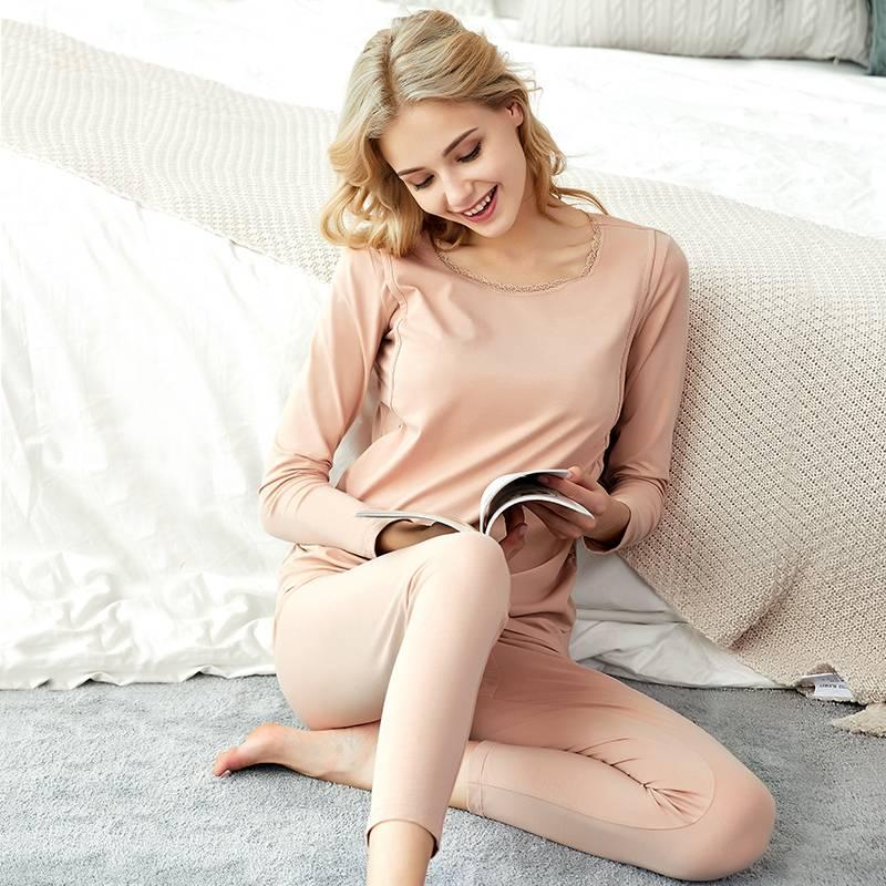 孕妇秋衣秋裤套装纯棉产后哺乳睡衣秋冬季棉毛衫保暖内衣月子服
