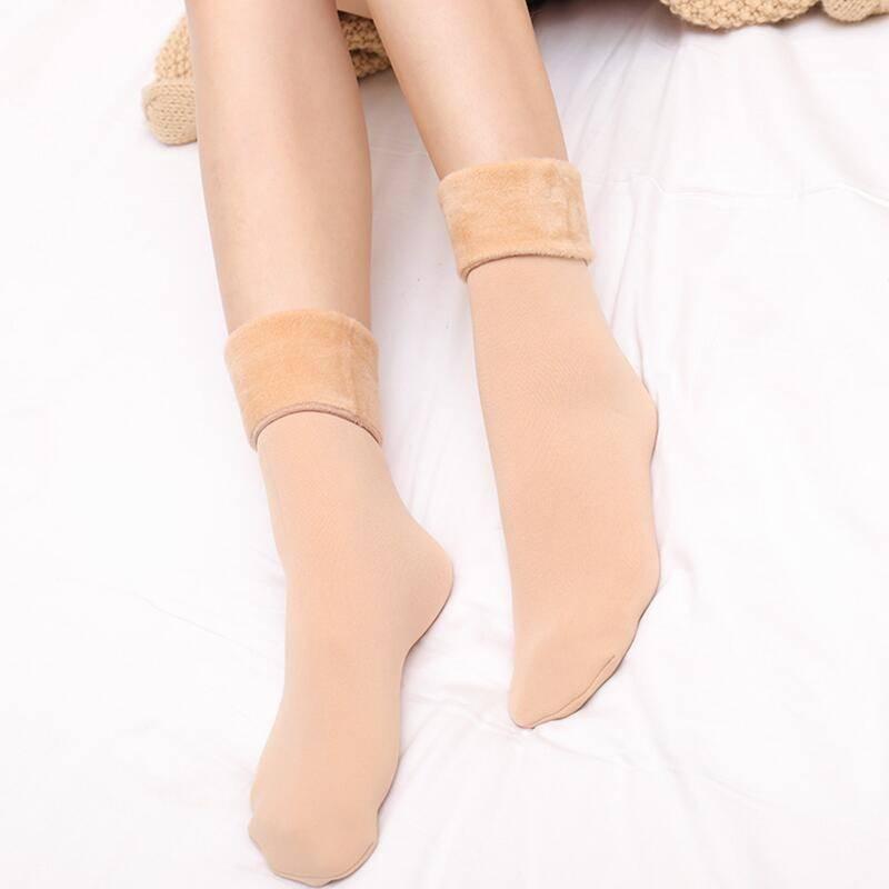雪地袜子男女秋冬季加绒加厚成人保暖纯色中筒袜日韩系可爱地板袜