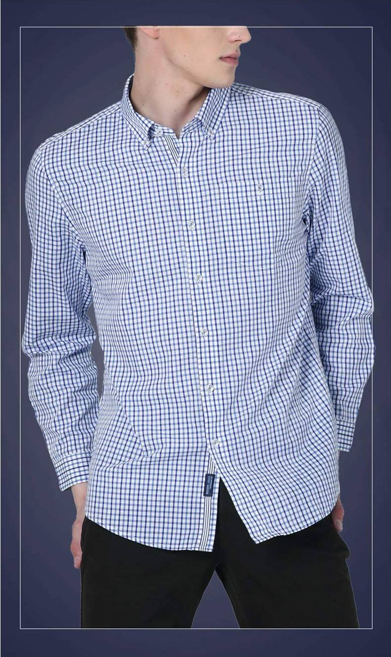 波顿/Boton男式经典格纹蓝白小格子纯棉长袖衬衫秋宽松衬衣
