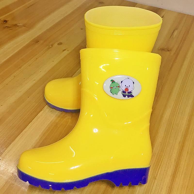 儿童黄色雨鞋男女中大童1-10男孩女孩学生宝宝防滑水鞋雨靴加绒