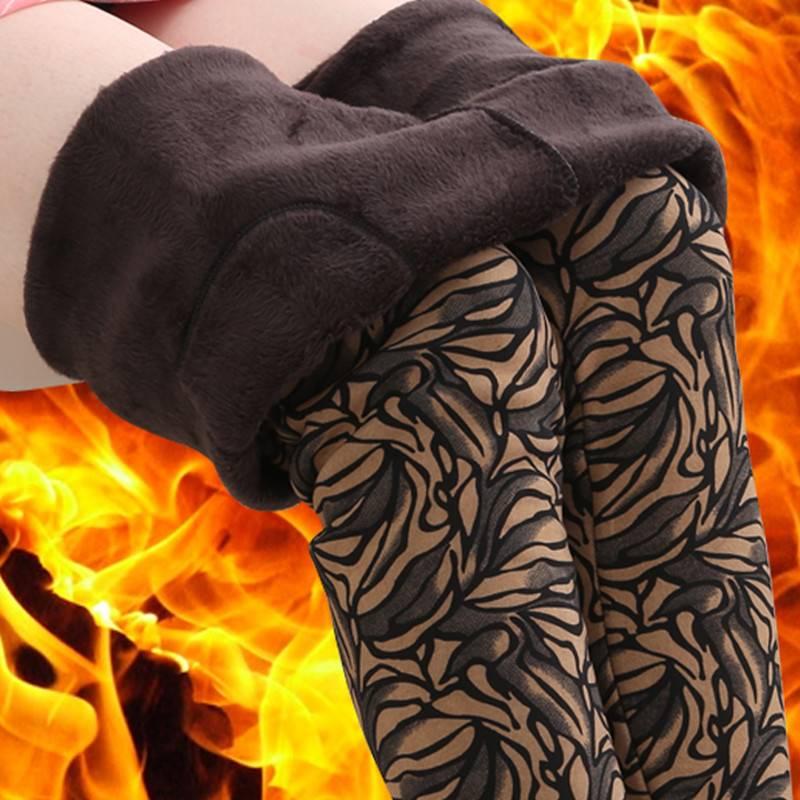 秋冬季加绒加厚打底裤女外穿高腰中年妈妈中老年女装大码保暖长裤