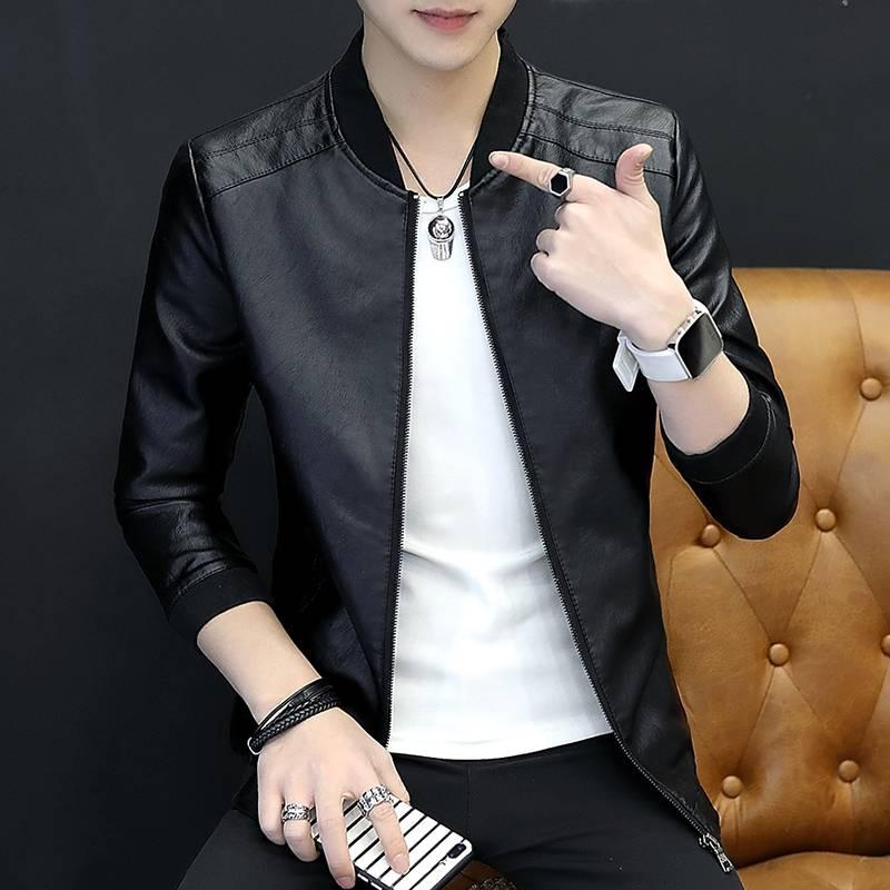 外套男士青年春秋季网红皮夹克加绒机车修身韩版潮流帅气皮衣男潮
