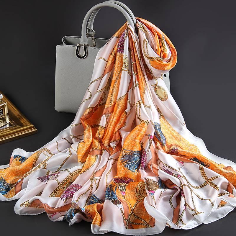 上海故事仿丝绸真丝丝巾女士2019好新款长款漂亮大气薄款春秋围巾