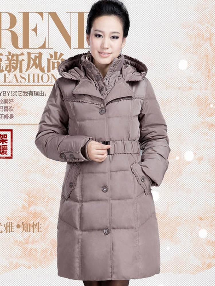 1反季白鸭绒中老年轻羽绒服女中长款大码妈妈装羽绒服保暖冬外套