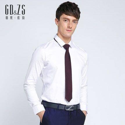 格度佐致GDZS专柜秋季新款男士白色衬衣修身长袖商务正装衬衫法式