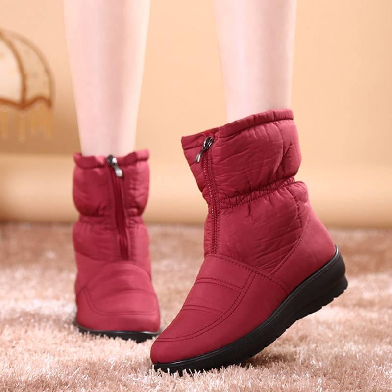防水雪地靴女中筒冬布鞋加厚加绒妈妈棉鞋短靴保暖厚底大码41 42