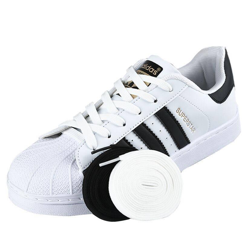 纯白色黑贝壳鞋编制宽扁帆布休闲鞋带户外运动鞋带时尚涤纶鞋带