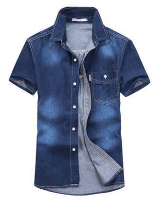 春夏新款长袖牛仔衬衫男方领水洗衬衣青春短袖薄款衬衣男士外套潮