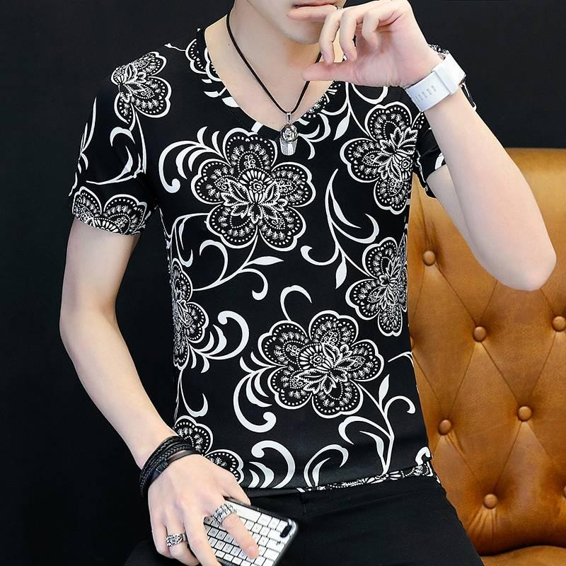 男士短袖T恤韩版上衣新款长袖体恤夏季潮男T恤半截袖打底衫衣服