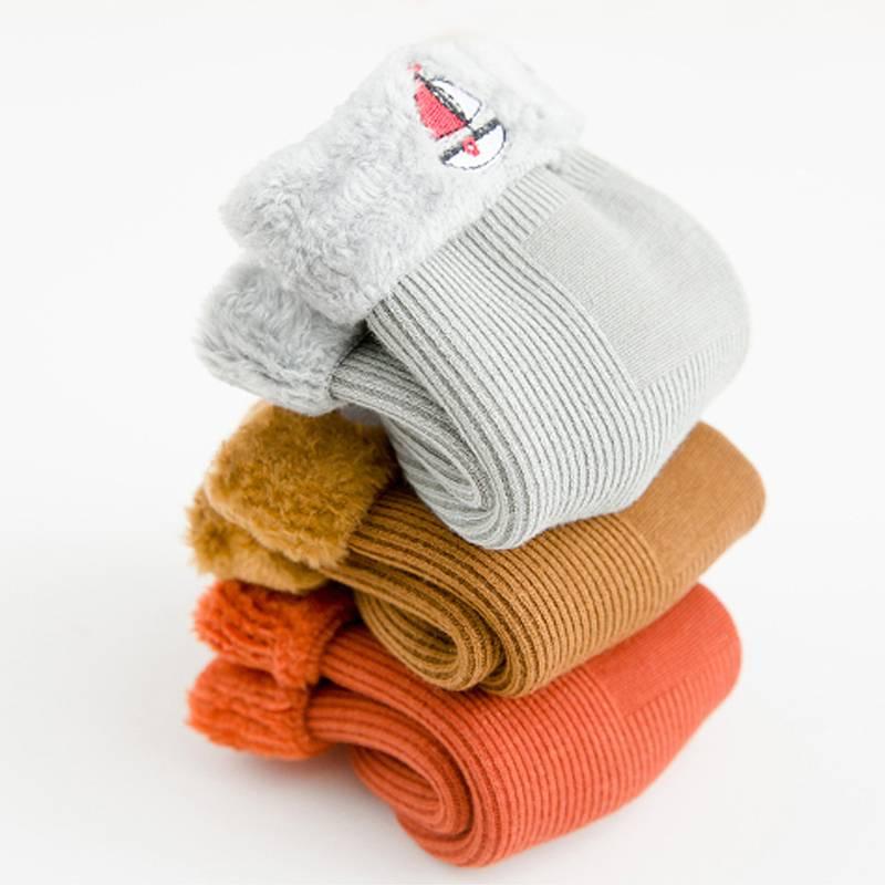 儿童袜子秋冬加厚雪地袜宝宝冬季纯棉袜保暖女童加绒地板婴儿袜子