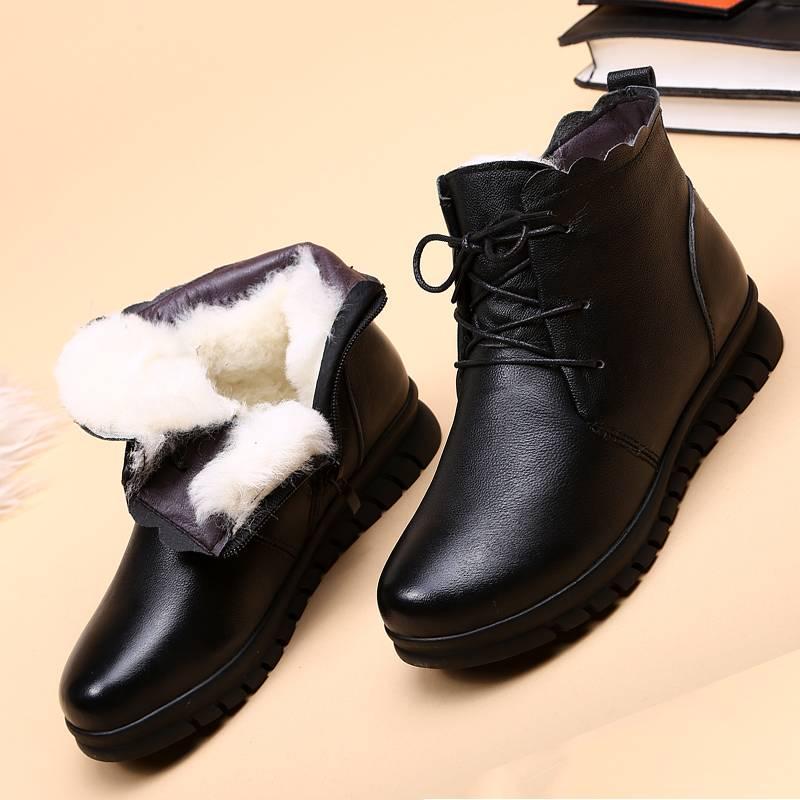 妈妈冬软皮鞋棉鞋女加绒真皮羊毛保暖皮毛一体加厚短靴大码40-43
