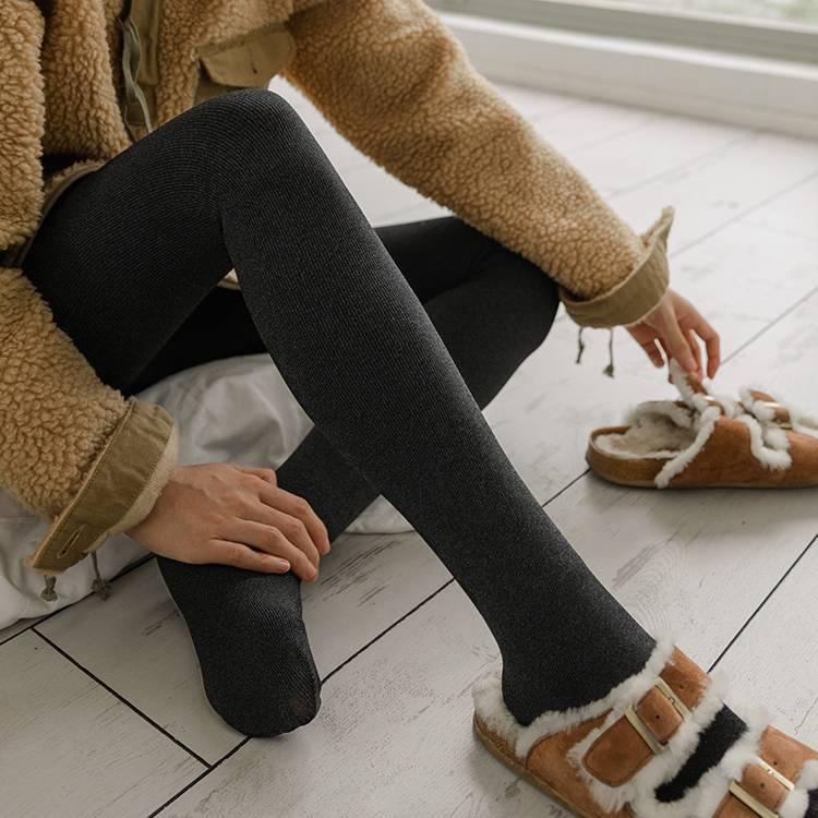靴下物2400D 日系连裤袜平纹竖纹加厚打底袜女秋冬季黑色高腰袜子