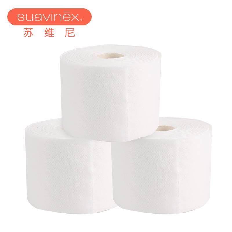 苏维尼 3卷装 婴儿纯棉棉柔巾一次性洗脸巾375节片