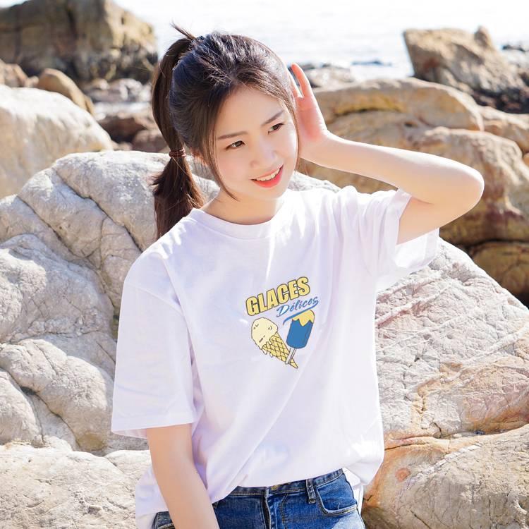 韩版2018夏季女士短袖T恤纯棉全棉新款百搭款圆领纯色佛系印花