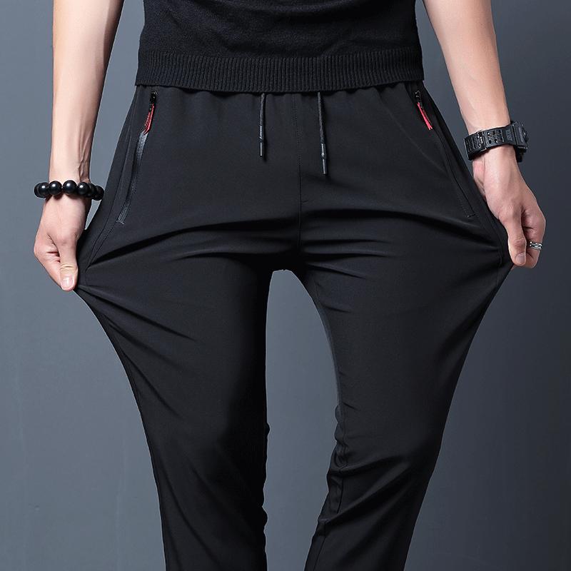 裤子男夏季韩版修身潮流休闲裤黑色百搭薄款运动宽松小脚修身长裤