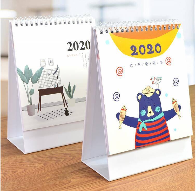 金福星台历2019年创意简约小清新办公月历桌面摆件计划本式记事本小日历女办公室台历本格子记事日历2020台历