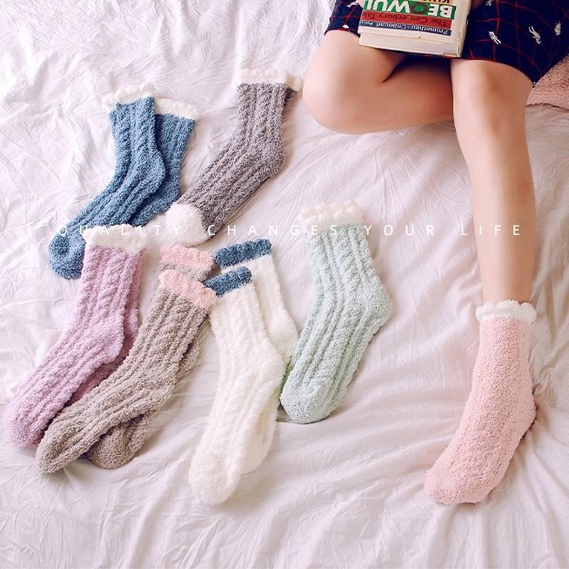 珊瑚绒加绒加厚毛毛袜子女士秋冬季家居保暖地板袜冬天睡眠袜中筒
