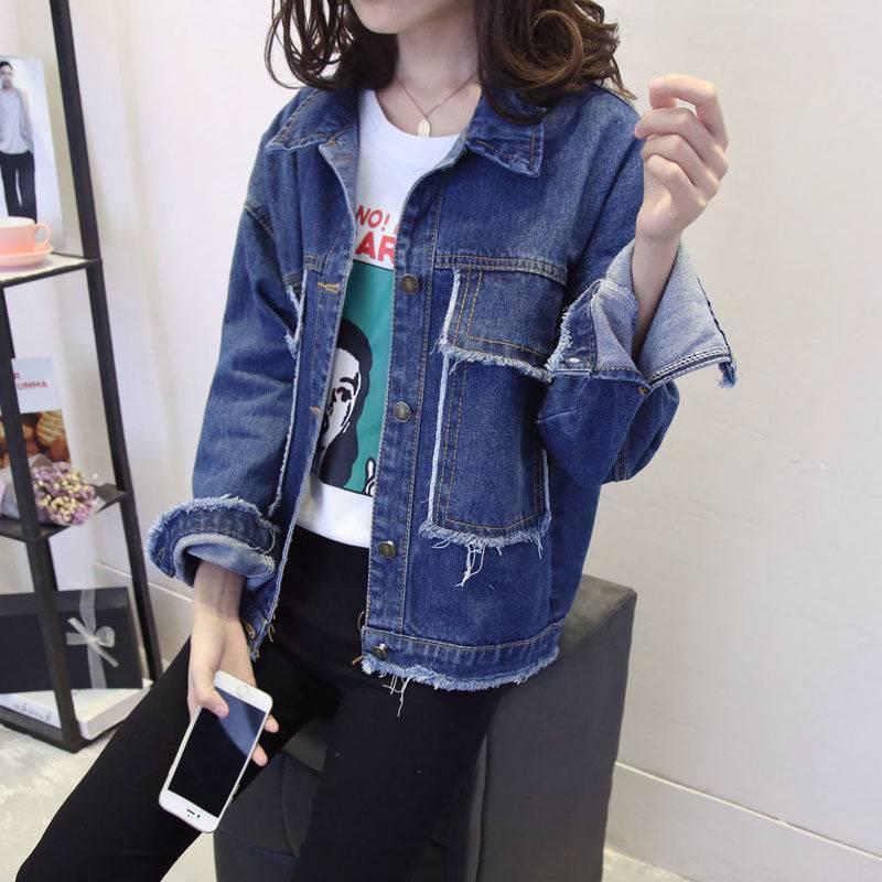 牛仔外套女2019春秋韩版新款宽松百搭青少年初中学生长袖短款外衣