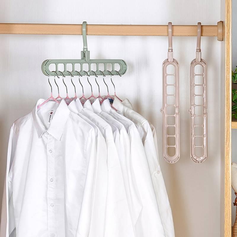 创意多功能衣架家用素色阳台衣柜魔术收纳旋转挂衣服防滑晾晒架