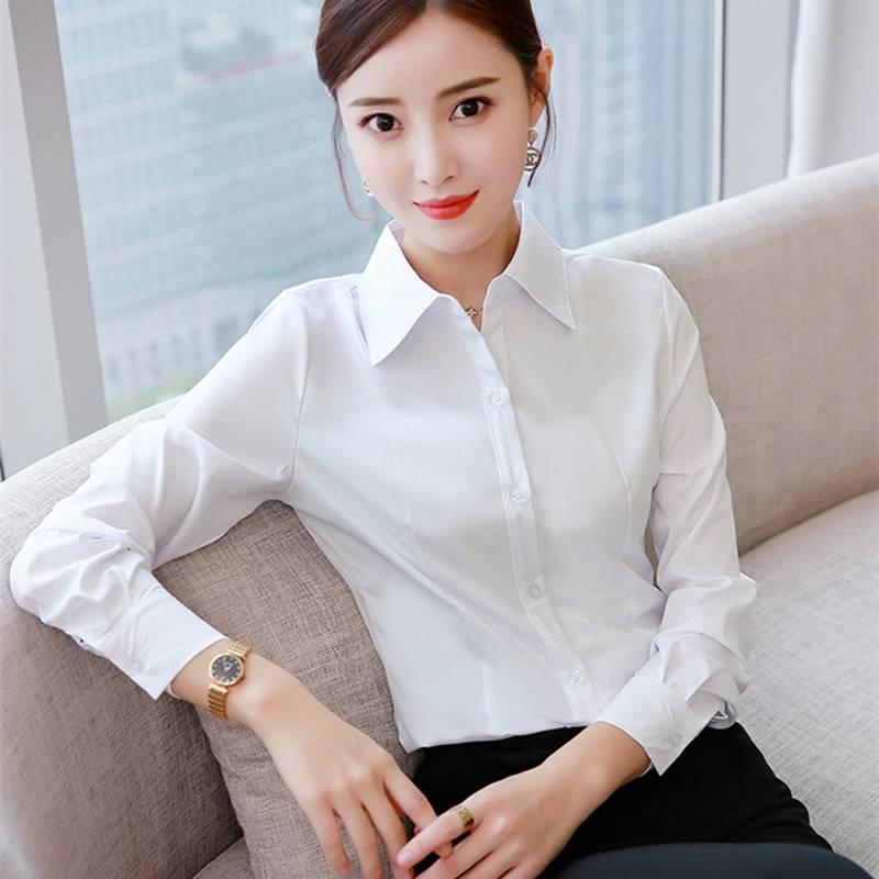 白衬衫女职业diy定制韩版正装商务工装修身工作服大码衬衣女学生