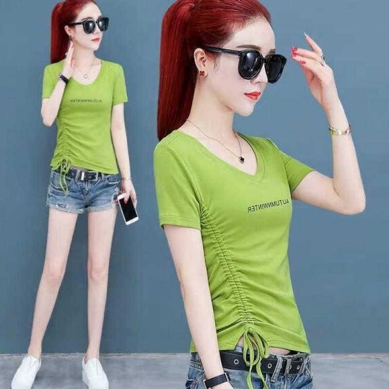 65 牛油果绿t恤女短袖夏装新款心机小众修身V领体恤短款抽绳上衣