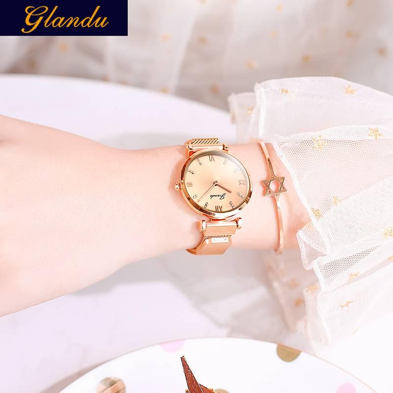 格浪都女士手表学生韩版时尚潮流防水石英表钢带款手表女简约腕表