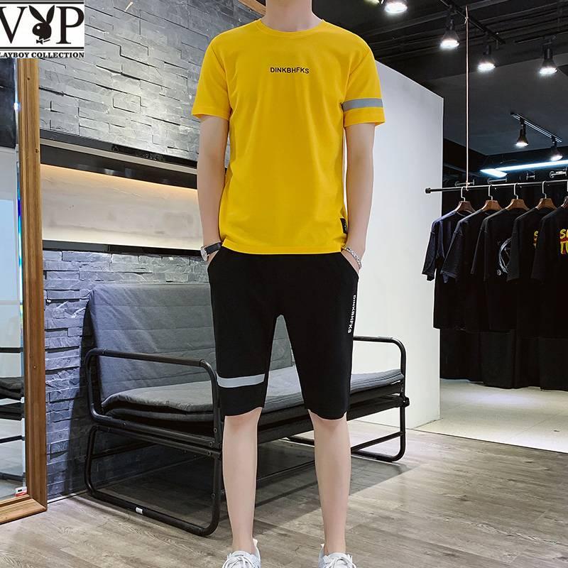花花公子贵宾夏季短袖T恤运动套装男士青年韩版短裤潮运动一整套