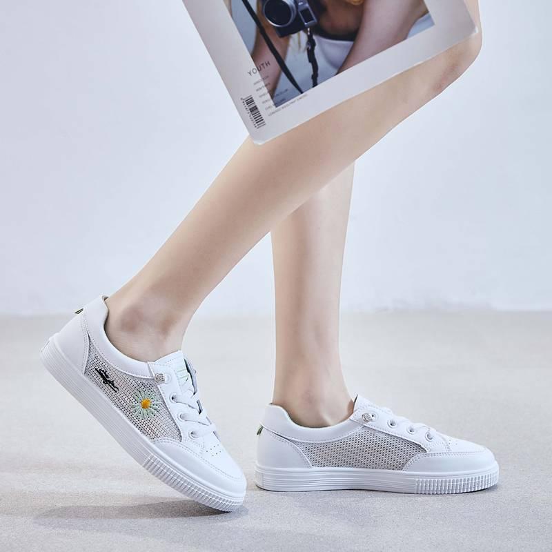 兰茵朵小雏菊网面小白鞋女2020夏季新款透气学生韩版跑步平底鞋