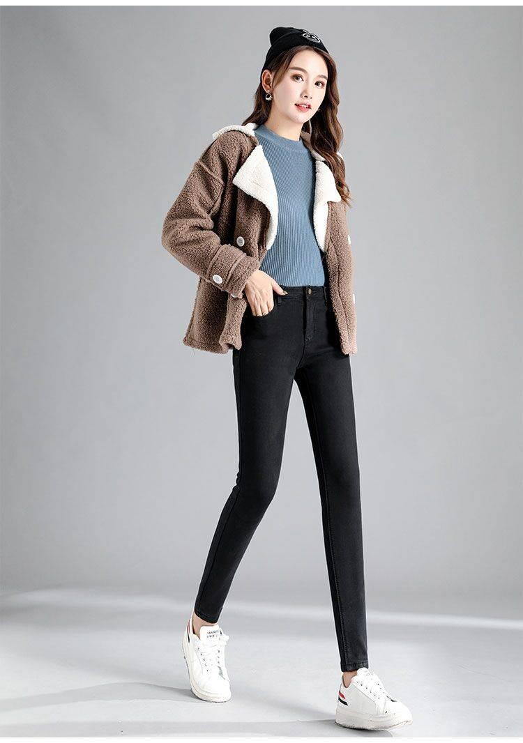 2019新款女式牛仔裤高腰加绒加厚显瘦保暖长裤水洗小脚铅笔裤女