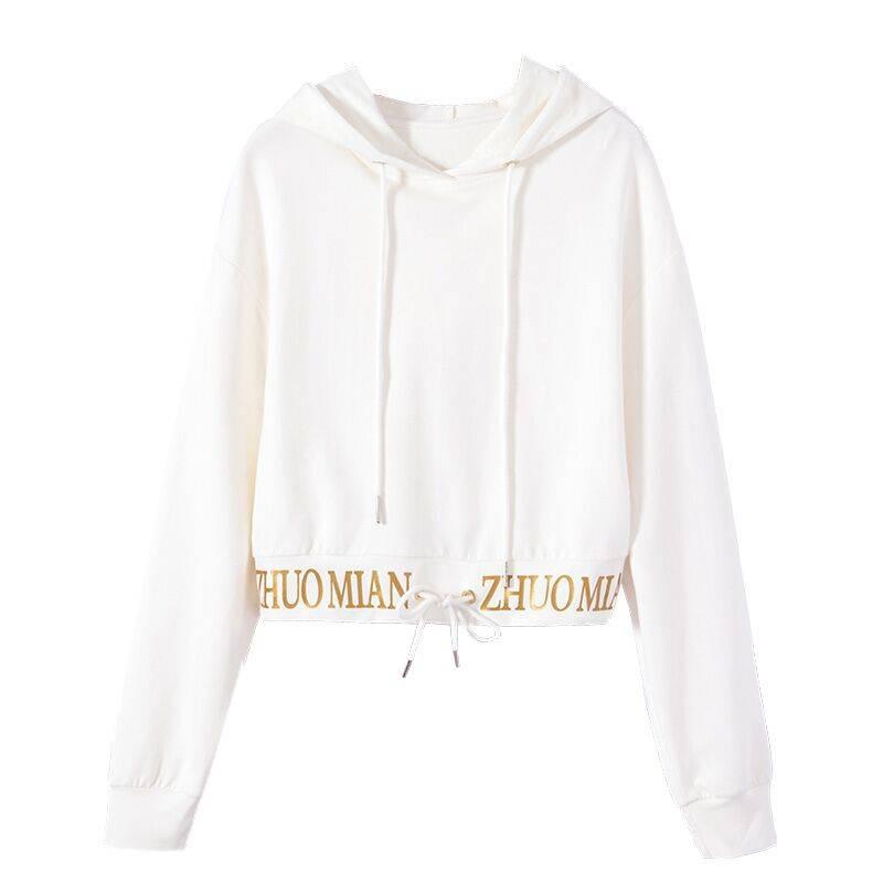 2019春季新款白色长袖连帽百搭小款高腰卫衣女短款收腰抽绳小个子