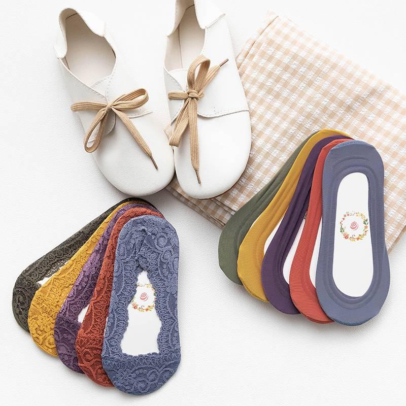 船袜女纯色棉短袜浅口超隐形袜夏季天薄款硅胶防滑蕾丝袜女士袜套