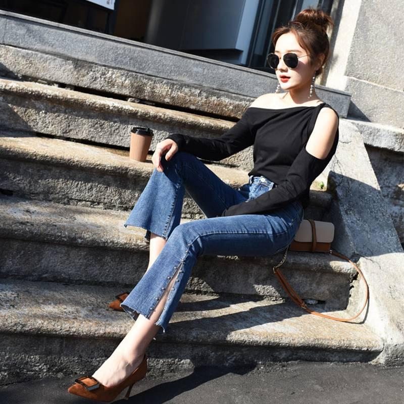 新款夏季高弹喇叭裤子女牛仔裤女韩版高腰显瘦修身微喇九分裤子女