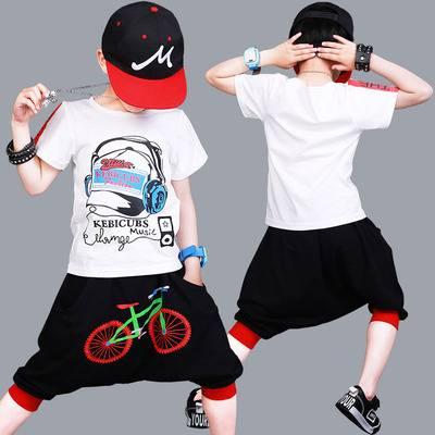嘻哈街舞韩版潮儿童夏装套装男孩帅气2019新款洋气童装短袖二件套